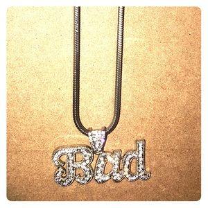Rhinestone silver bad necklace